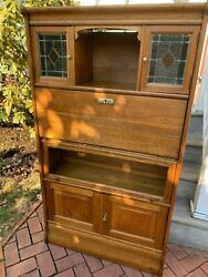 Antique Art Nouveau French Oak Barrister Bookcase W/stained Glass And Desk, 1915