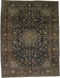 Thick Pile Traditional Floral Navy 10x13 Handmade Oriental Rug Home Decor Carpet