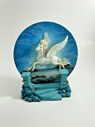 Medieval Legends Pegasus Unicorn Blue 3d Ceramic Collectible Plate With Stand