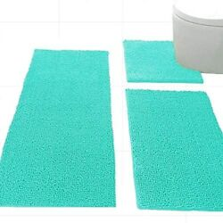Madeals 3 Piece Bathroom Rug Set With Toilet Lid Cover And Rug Set Combo Soft S