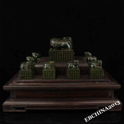 Collect China Hetian Green Jade Handcarved 11 Chinese Zodiac Statue Stamp Seal