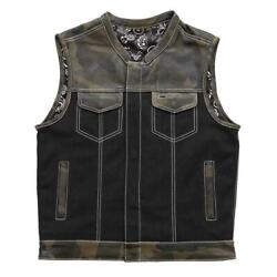 First Manufacturing Men Motorcycle Canvas Vest Infantry Fim666camo