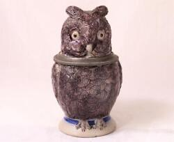 Antique German Character Beer Stein Owl By Hr Hauberand Reuther 64 C.1880s