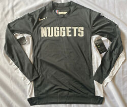 Nike Denver Nuggets Warm Up Ls Shooting Shirt Gray/white Small Player Issued