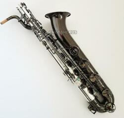 Super Baritone Saxophone Satin Nickel Body Low A Sax Black Nickel Bell With Case