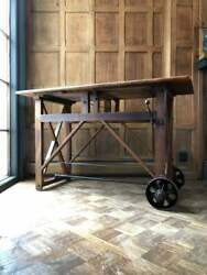 Antique Workbench Table, Primitive Entryway Table, Industrial Cross Braced Table