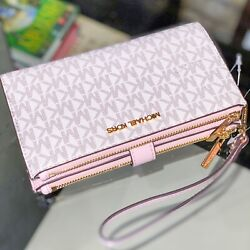 Michael Kors Jet Set Travel Large Double Zip Wristlet Wallet Pink Powder Vanilla $74.95