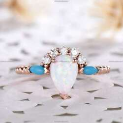 Natural Opalite Diamond Antique Promise Wedding Ring 14k Rose Gold Fine Jewelry