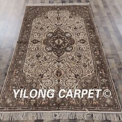 Yilong 5and039x8and039 Handknotted Silk Carpet Eco Friendly Easy To Clean Luxury Rugs 049m