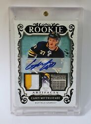 Casey Mittelstadt -2018-19 Ud Artifacts- Rookie Black Tag Patch Auto 176 1/1