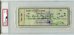 Ty Cobb Signed 1958 Bank Check Psa/dna Mint 9 Jsa Detroit Tigers Hall Of Famer