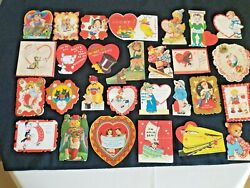 Lot Of 28 Vintage 1938 School Valentineand039s Day Cards Die Cut Very Good Condition
