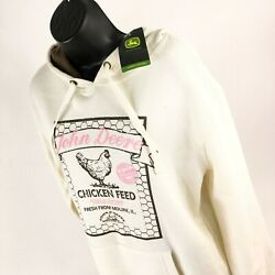 New With Tags John Deere Oversized Hoodie Hooded Sweatshirt Size M Pink White