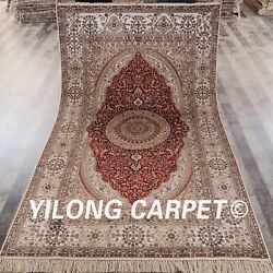 Yilong 5and039x8and039 Red Handknotted Silk Home Carpet Home Interior Area Rug Y435b