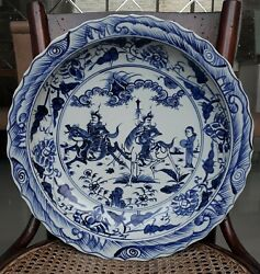 Chinese Antique B/w Large Porcelain Plate Warrior Motif