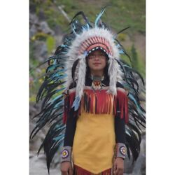 Medium Turquoise Fur Brown Indian Warbonnet Headdress Feather Native American