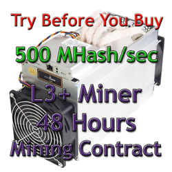 Digibyte Dgb Mining Remote Rental Contract For 48 Hours. 500 Mh/s L3+ Miner.