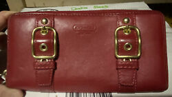 Red Coach Wallet Zoe Double Buckles Gold Red Leather Accordion Zip 43384 W34 $47.00