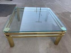 1980s Milo Baughman Style Modern Brass And Glass Square Rounded Edge Coffee Tabl