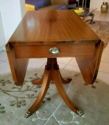 English Antique Mahogany Duncan Phyfe Style Drop Leaf Small Dining Room Table