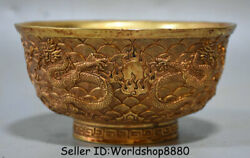 5 Old Chinese Copper 24k Gilt Gold Dynasty Palace Dragon Bead Round Bowl Bowls