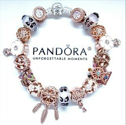 Pandora Silver Bracelet Rose Gold And Purple Love Butterfly Glass European Charms