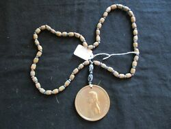 Thomas Jefferson Indian Peace Medal Sinew Trade Bead Necklace Pe-032105353