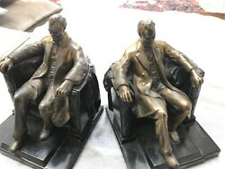 Pair Lincoln In The Chair Statue Made By Philadelphia Inc Bookends