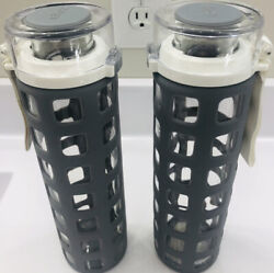 Set Of 2 Ello Bpa-free Glass Water Bottles With Lid Gray Silicone Sleeve 20 Oz.