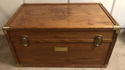 Very Rare Vintage John Deere Oak Chest Trunk With Engraved Deere And Co. 1884 Logo