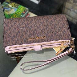 Michael Kors Jet Set Travel Large Double Zip Wristlet Wallet Pink Powder Brown $74.95