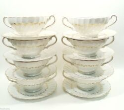 St Regis By Myott M919g 8 Sets Double Handle Soup Chowder Bowls And Saucers