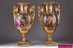 Antique Original Porcelain 19th Century Rare French Gilded Twin Vases, Kpm Style
