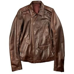 Rick Owens Lamb Leather Stooges Jacket Andlsquomoodyandrsquo Aw14 Size 52