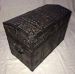Antique Renaissance Wood Leather And Metal Bound Dome Top Chest Strong Box