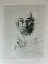 Jack Levine - Etching - Faces Signed Andandnbsp 2 Of 75andnbsp In Pencil