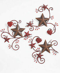 Set Of 3 Metal Wall Hangings, Country Red Hearts, Brown Barn Stars, And Berries