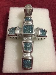 14 Kt Princess Cut Invisible Setting Blue Diamond 3.5 Ct Solid And Heavy Pendabt
