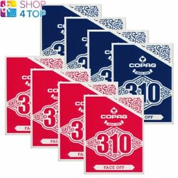 8 Decks Copag 310 Face Off Poker Playing Cards Paper Standard Index Blue Red New