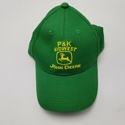 P And K Midwest John Deere Tractors Farm Hat Cap Green Adult Used Strapback G4