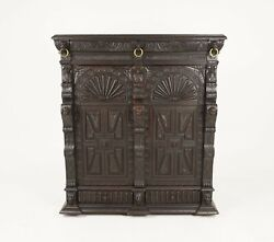 Antique French Carved Oak 19th Century Hall Cabinet Side Cabinet France 1880