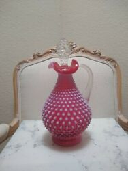 Vintage Fenton Cranberry Opalescent Hobnail Decanter With Stopper