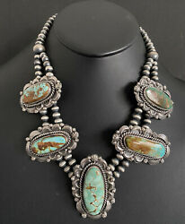 Native American Sterling Silver Royston Turquoise Pendant Necklace. Cy