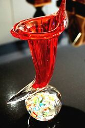 A Beautiful Vintage Ruby Glass Trumpet Vase Paperweight