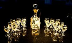 Stunning French Art Nouveau Heavy Crystal Gilt Decanter And 16 Glass Drinks Set