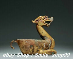 5.1 Old Zhan Dynasty Pure Bronze 24k Gold Gilt Palace Dragon Brush Wash Statue