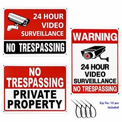 3 Pack No Trespassing Security Camera Warning Sign Uv Protected Rust Free 107in