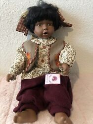 Vintage Goldenvale Coll Porcelain Doll Native/ African American Hello Kitty Vest
