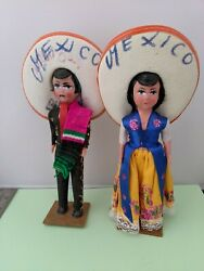 Vintage Pair Of Mexican Souvenir Dolls On Stands - Paper Mache And Plastic 3 B24