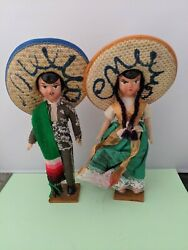 Vintage Pair Of Mexican Souvenir Dolls On Stands - Paper Mache And Plastic 1 B24